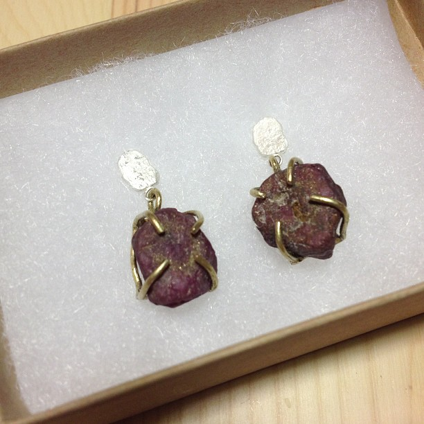 This beauties: rough #ruby talisman earrings are being shipped off to Fine Line Design Gallery in Wisconsin today! #jewelry #handmade (at We Are Here Studio)