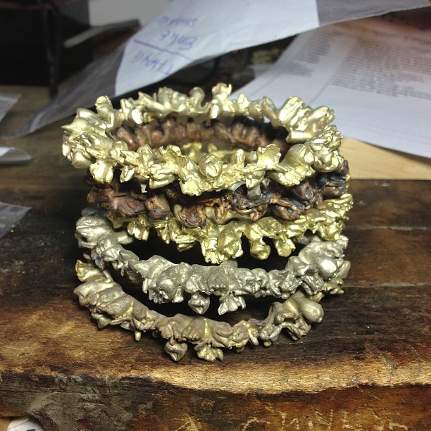 Loving this stack of unfinished eternal flower bangles! #studioshot #jewelry #handmade #wearehere #nyc (at We Are Here Studio)