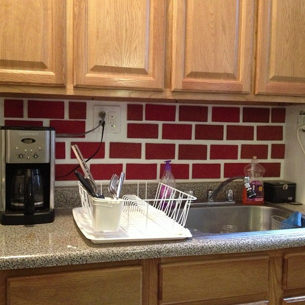 Just finished this faux brick back splash today with cork board & red paint #sundayfunday #craft