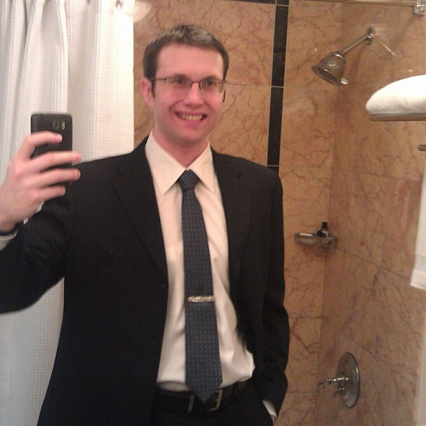 Repost of my dorky boyfriend wearing the #custom #tiebar I made him for #christmas! Proud customer #la #jewelry #handmade