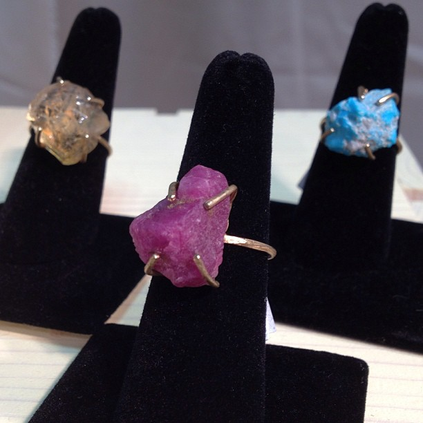 #talisman rings with rough cut #ruby #turquoise #citrine at #nyigf #booth9170 #handmade #nyc  (at NY International Gift Fair)