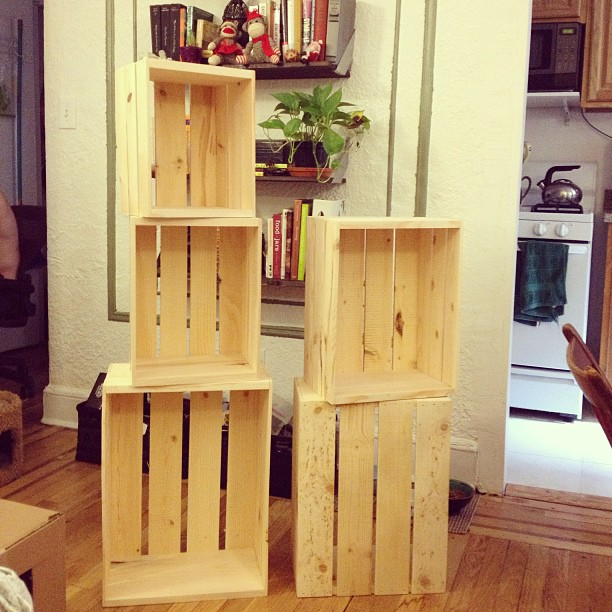 My wooden nesting crates just arrived today! I'm using these to build shelves for display at the #NYIGF in one week! Now off to my studio to stain them #jewel tones colors 💎 #jewelry #DIY #display #LIC #NYC