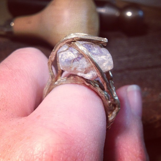 Preview of the new collection! All hail to the mighty opal ring!! #jewelry #brooklyn #nyc (at We Are Here Studio)