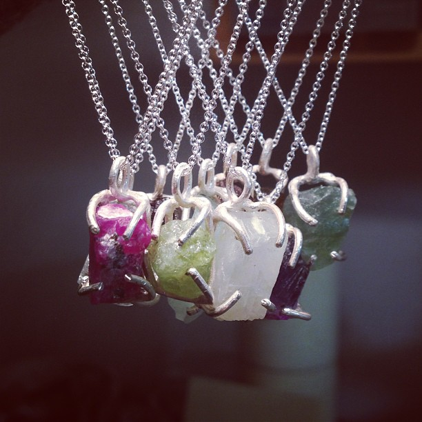 Talisman pendants with rough cut gems, coming soon to the website! #handmade #jewelry #brooklyn #nyc