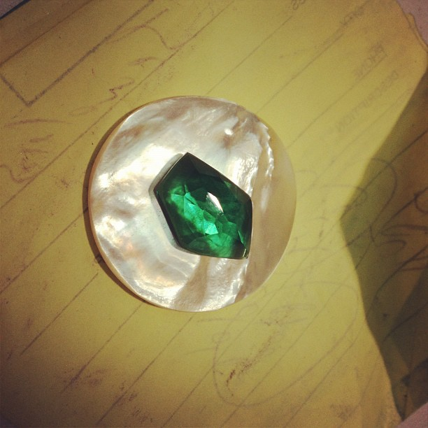 Green quartz on top of mother of pearl… Just because it looks pretty!! (Taken with  Instagram )