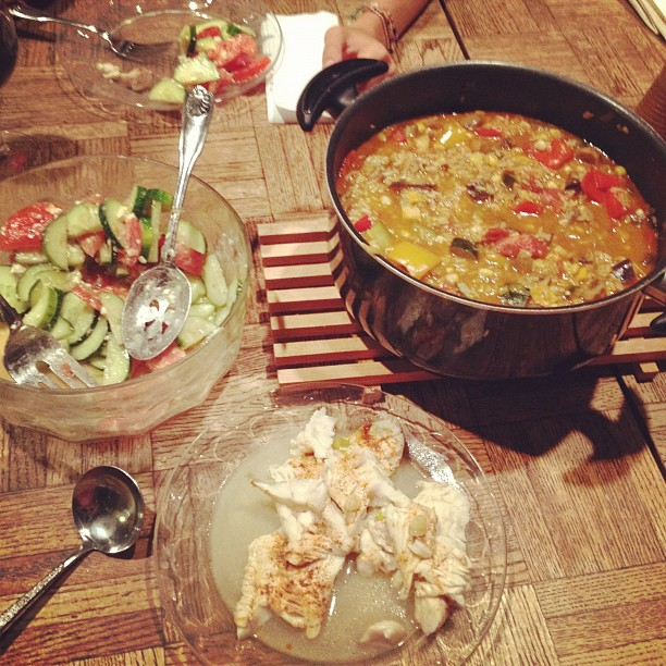 Veggie paella, sea bass and yummy salad!! @emilydru1 @raekiel #melissasucks  (Taken with  Instagram )