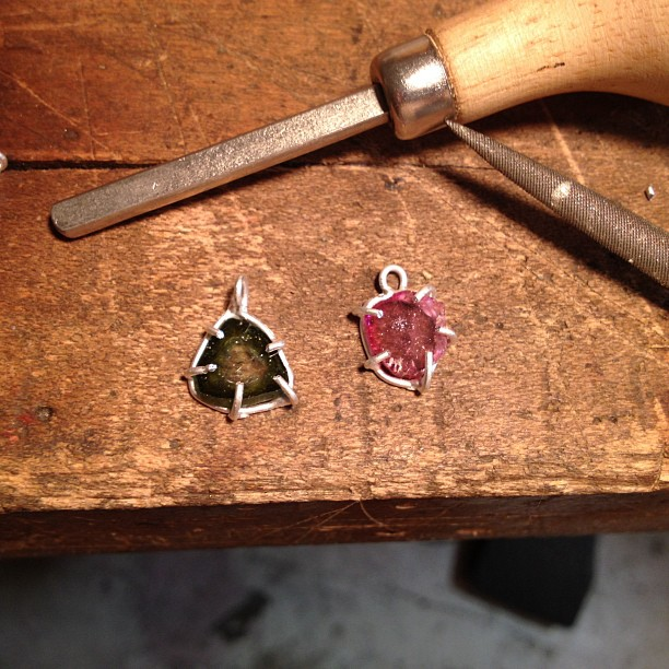 Making new watermelon tourmaline pieces for my upcoming @fab sale in September! Stay tuned…. (Taken with  Instagram )