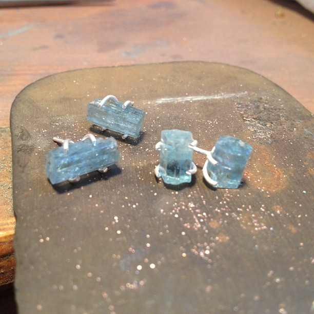 Rough cut aquamarine earrings in the works. These are so teeny and the perfect touch of natural color! Emilieshapiro.bigcartel.com (Taken with Instagram)