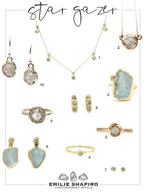 4a337a5cb Ellipse Ring | Aquamarine, Rough Diamond, 14ky Gold 4. Mini Cobblestone  Studs | Rough Diamond, 14ky Gold