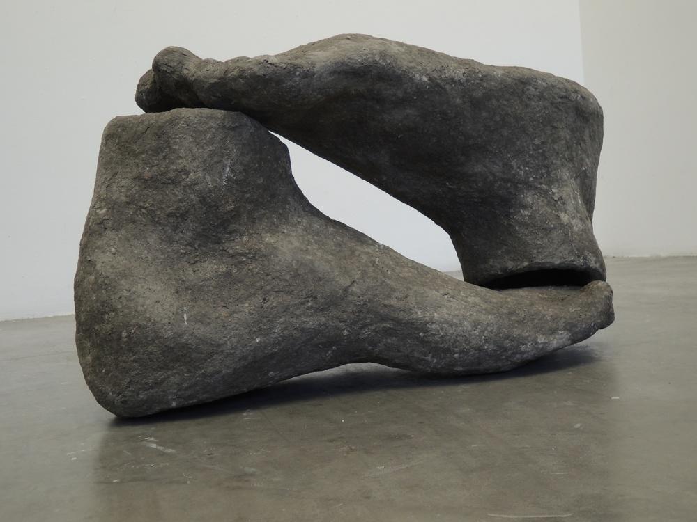 Carmen Lang, Chac Mool ,Paper maché, mortar,20.4 x 36 x 15.6 inches,2013