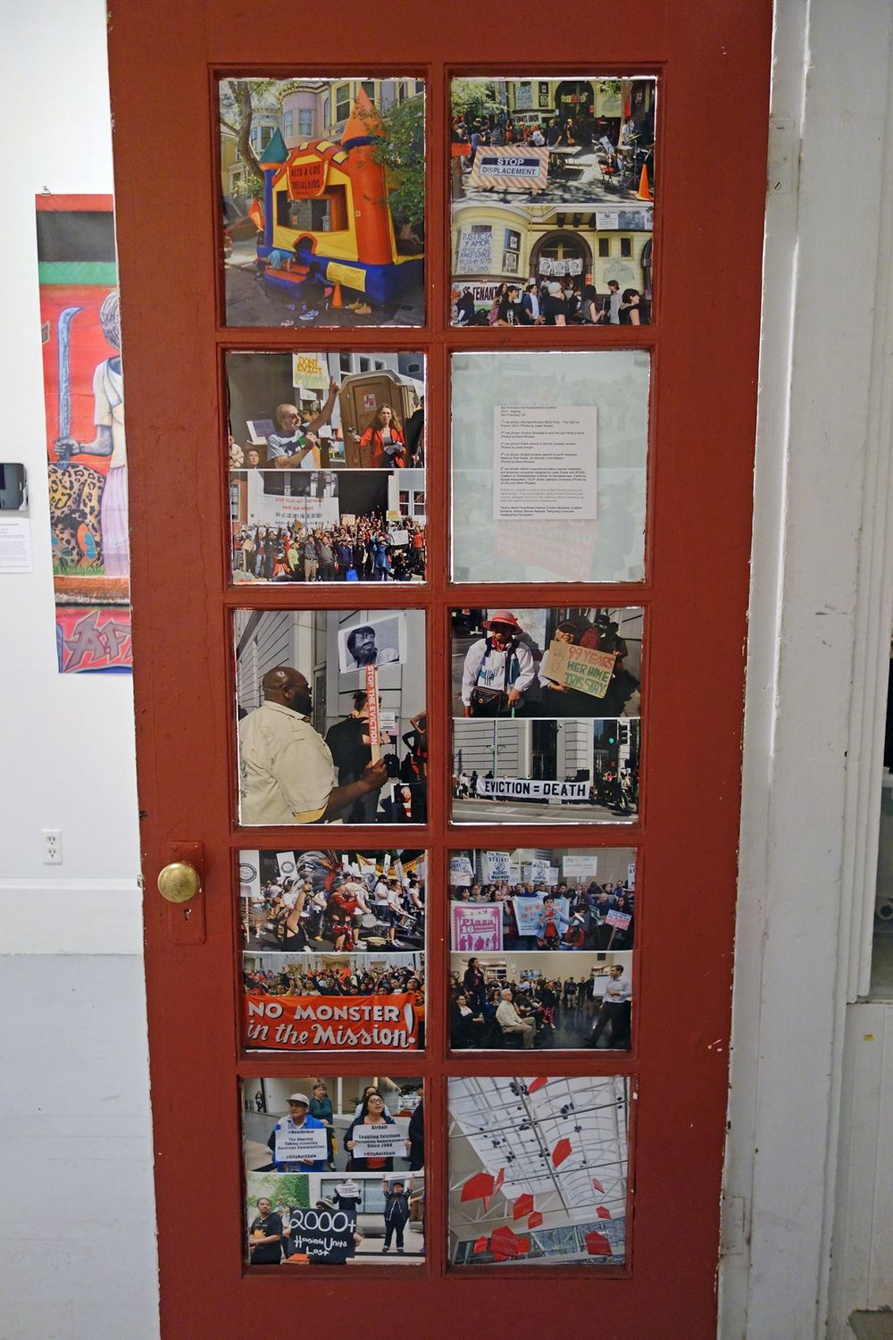 Photo installation of multiple  San Francisco Anti-Displacement Coalition  actions.