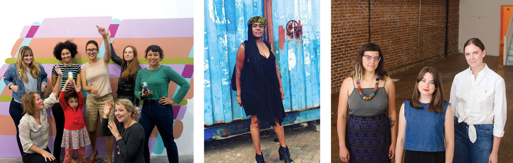 Left to right: The artists who run CTRL+SHFT; Anyka Barber of Betti Ono Gallery; and the artists of Recess\SF.
