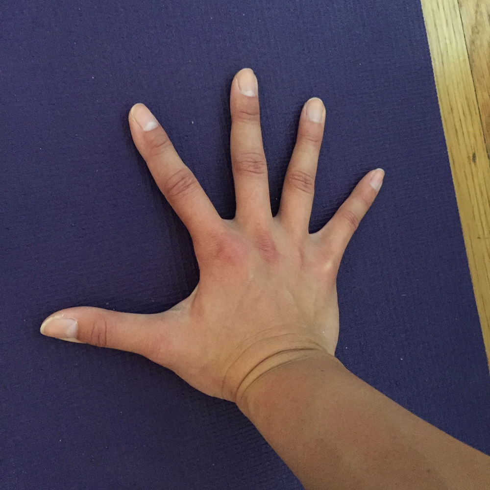 Correct option: Fingers are spread out and grounded through the inner palms. Think of your arms, hands, and fingers as an extension of the core, and you are pressing the hands into the floor from your core.