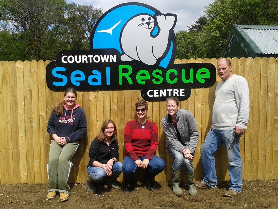 Some of the summer 2014 team posing under our new sign!