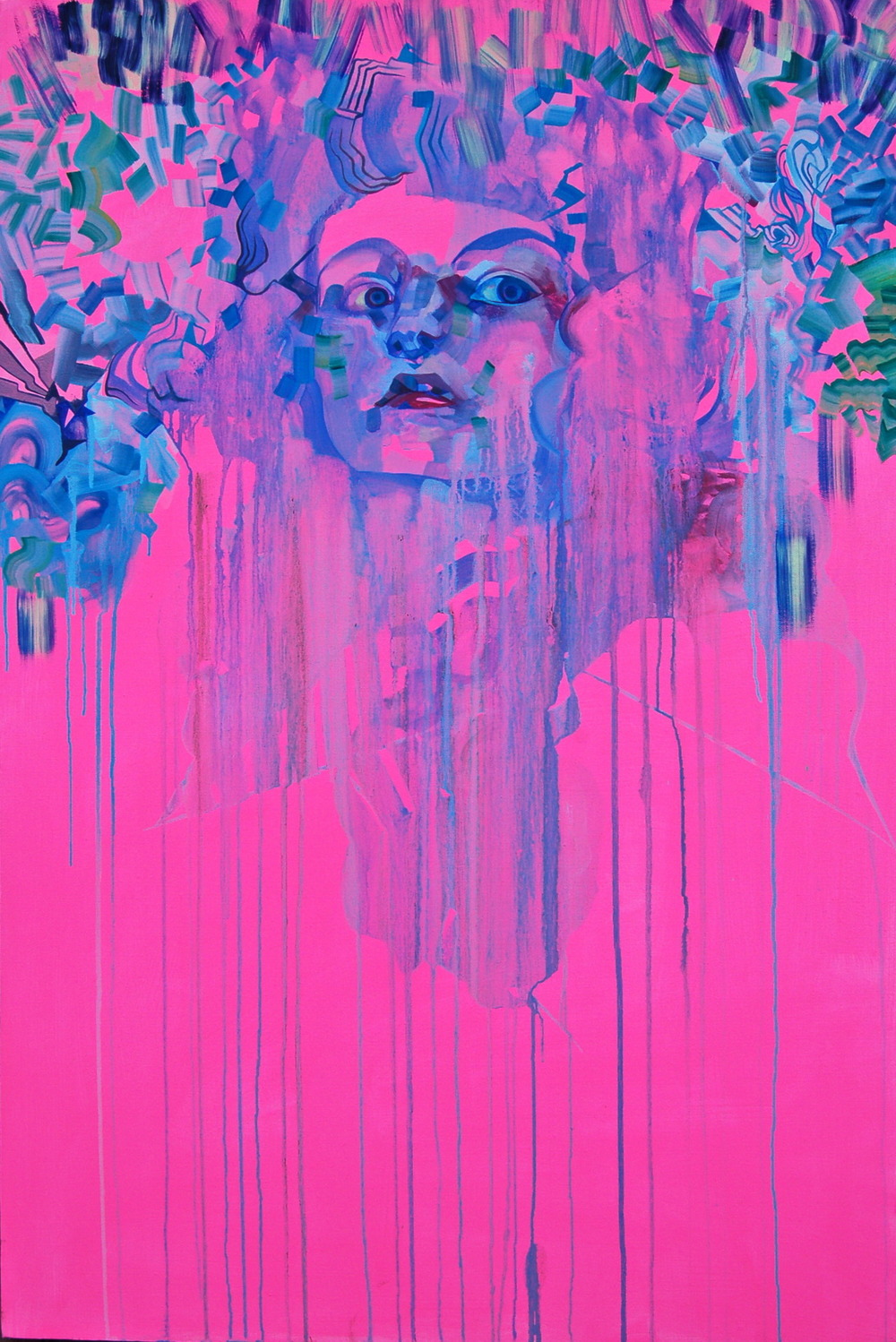 Drippy Pink Self Portrait   sold