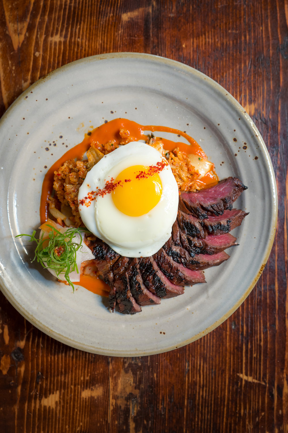 Hanger Steak with Kimchi Fried Rice