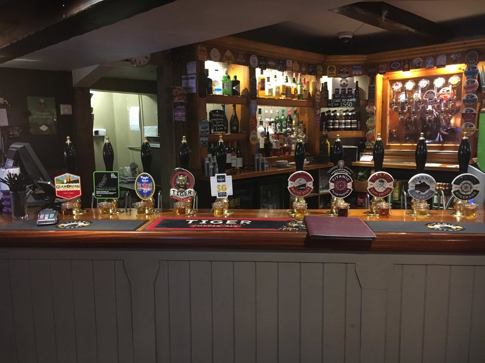 The Bar at the Cheshire Cheese in Buxton, UK.  Here you can see the perma-samples in front of each cask and the taps for Topaz Cluster and Tiger which both made my list below.  Had a great time here as well as at the Horse & Groom and Ye Olde Trip to Jerusalem in Nottingham.