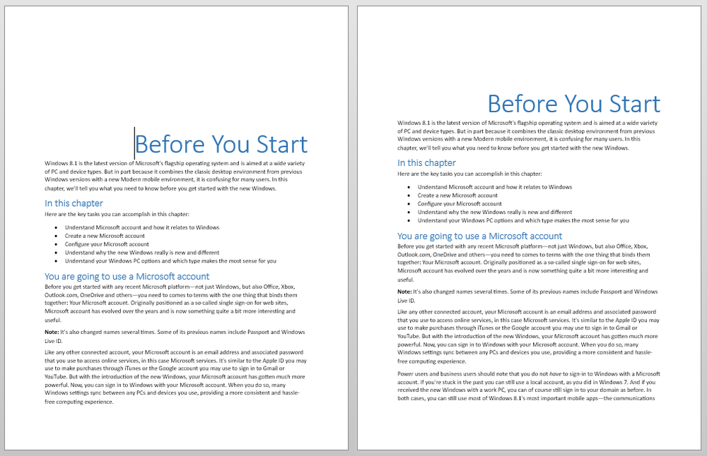 Chapter headings before (left) and after (right)