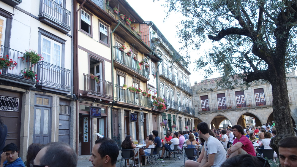 Town square in Guimaraes, the birthplace of Portugal, as we watch the 2014 FIFA World Cup Final, notice the TVs outside of every cafe