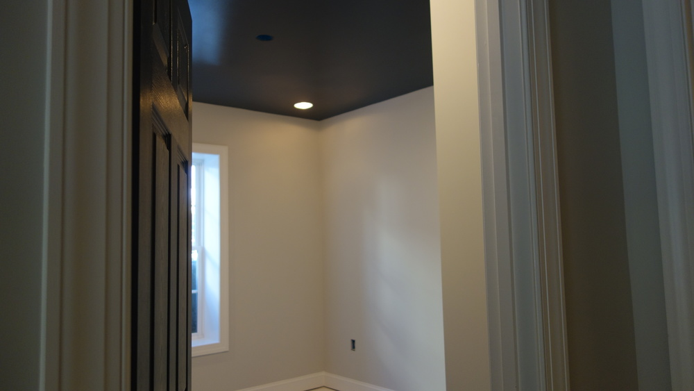 Dramatic hi-gloss paint on ceiling to make this jewel box room float