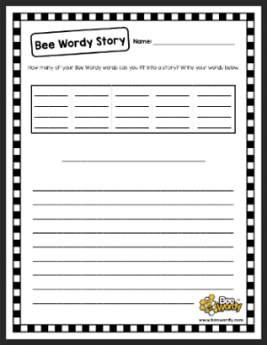 Players can write a descriptive story using their five senses and Bee Wordy words.