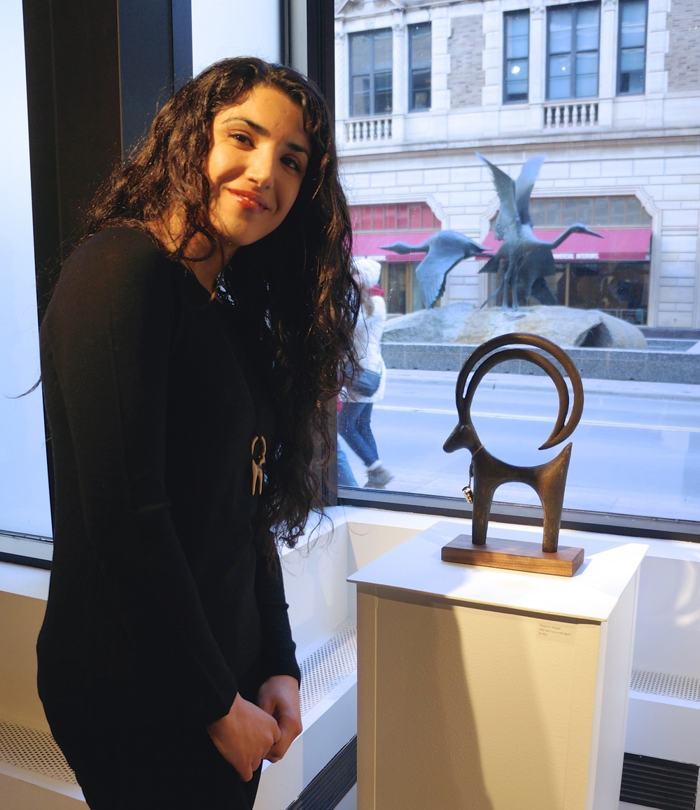 Katayoun Amjadi with her cast bronze piece,  Why don't you smile Bozi?