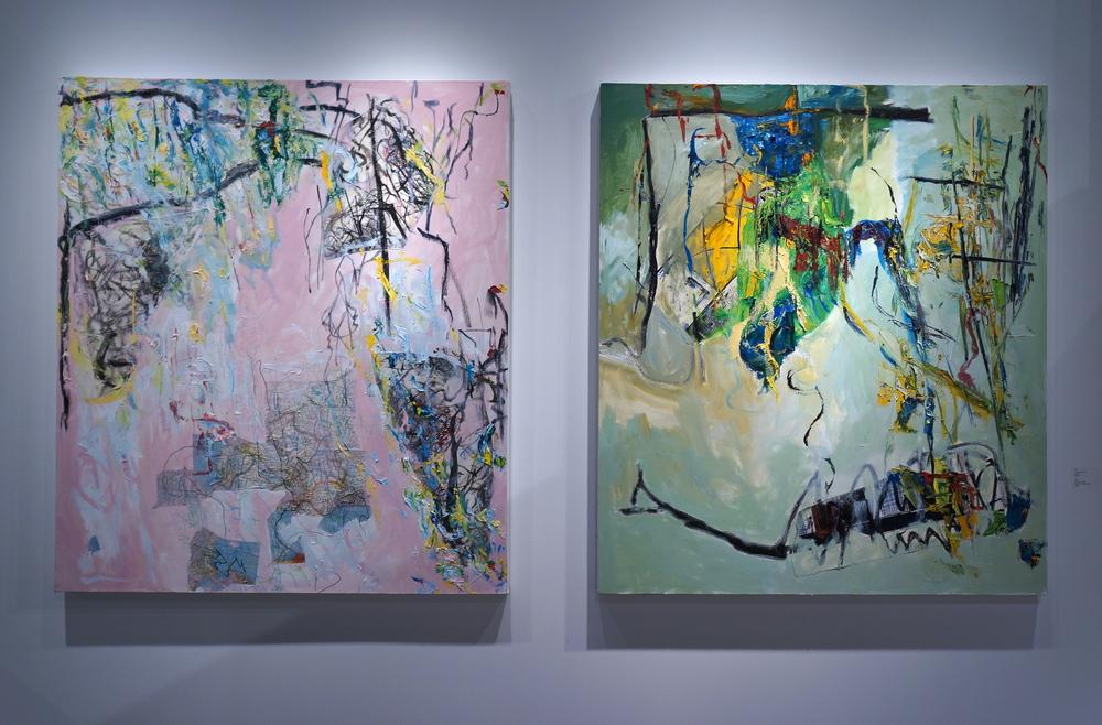 George Farrah  Left: Compass, $4000  Right: Beyond the Yellow Wall, $4000
