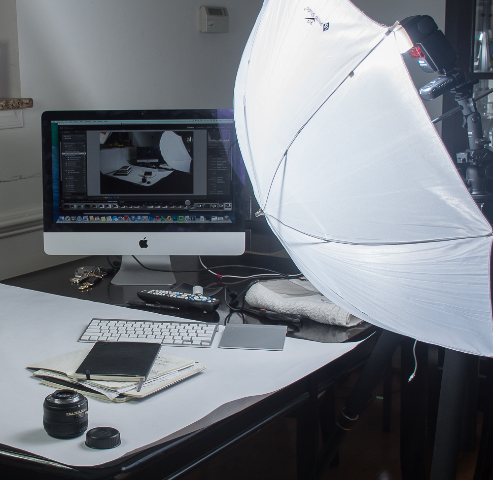 I started with 1 key light (strobe + umbrella - umbrella is necessary to soften the light).