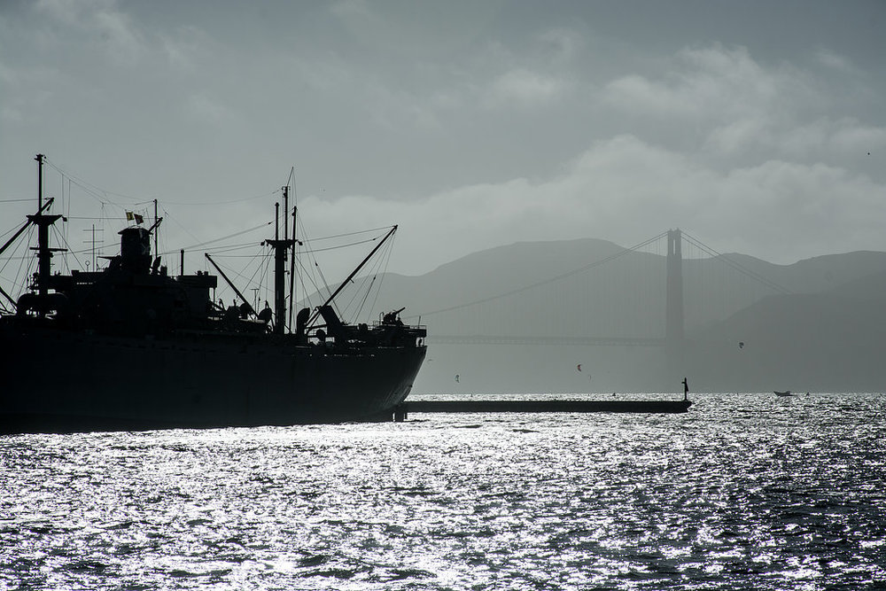 Carrier Ship San Francisco Golden Gate Bridge