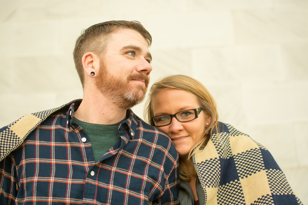 Lincoln Monument Engagement Couple Photo