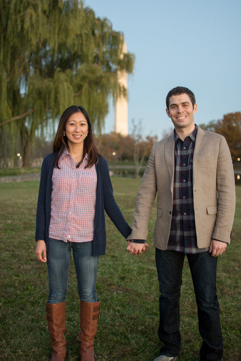 Constitution Gardens Lake Engagement Couple Photo