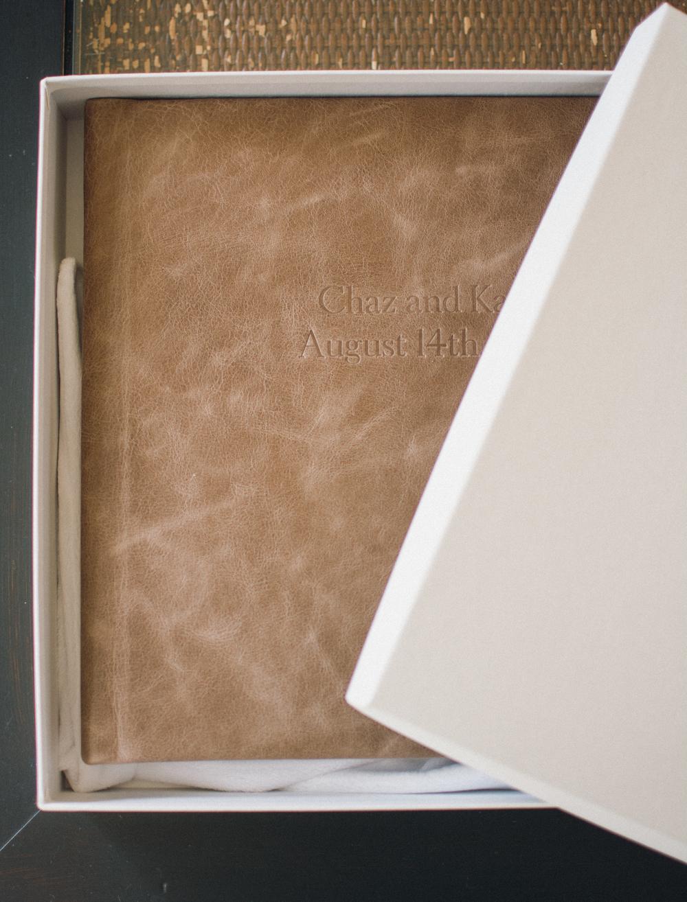 Brown Leather Wedding Heirloom Photo Debossing