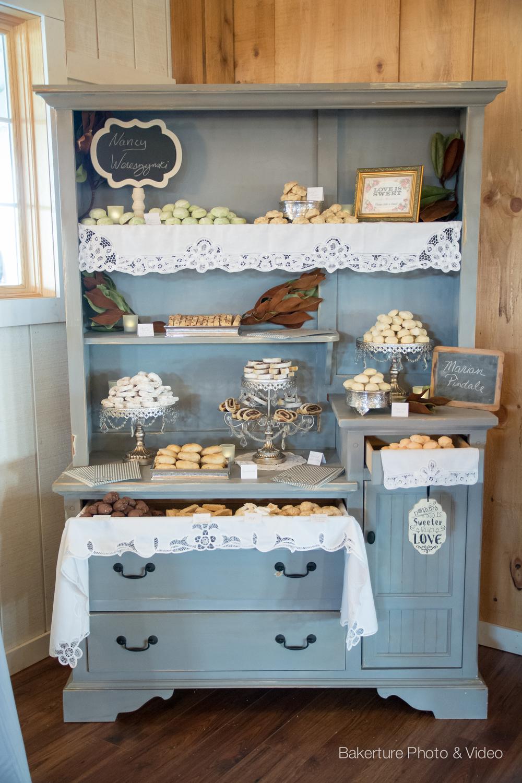 Shadow Creek Wedding rustic dessert hutch Photo