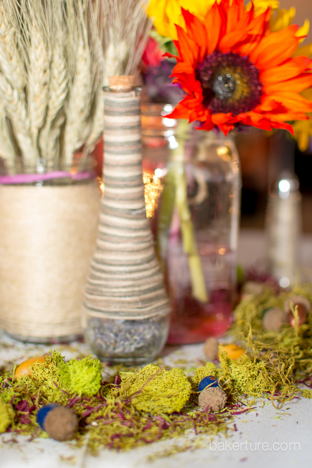 Walker's Overlook Wedding rustic hippy centerpiece flower reception Photo