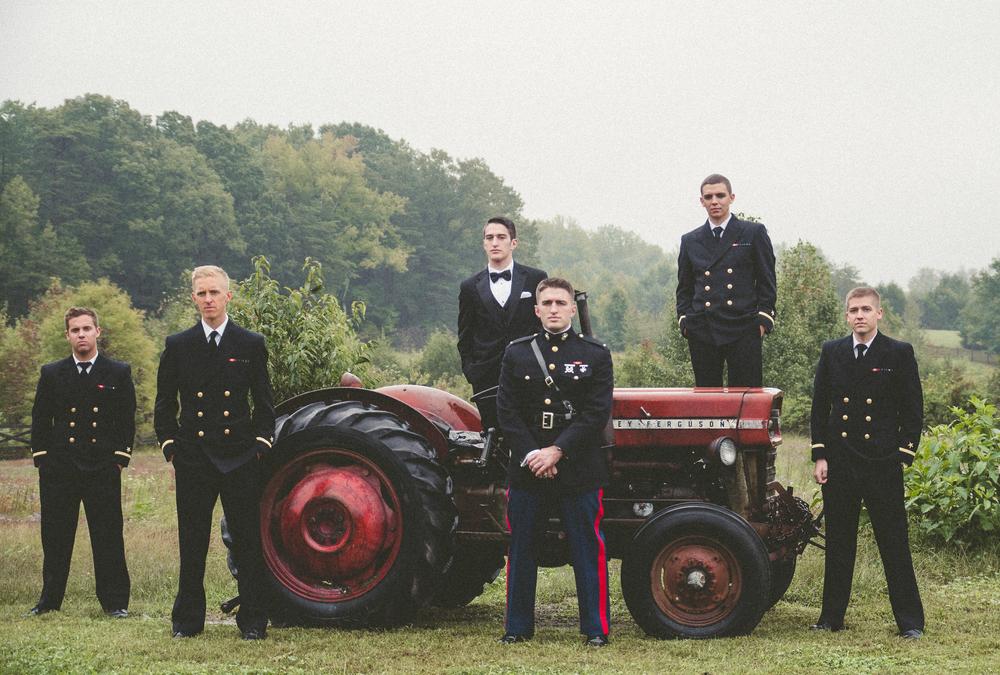 The Glasgow Farm Wedding military groomsmen Photo