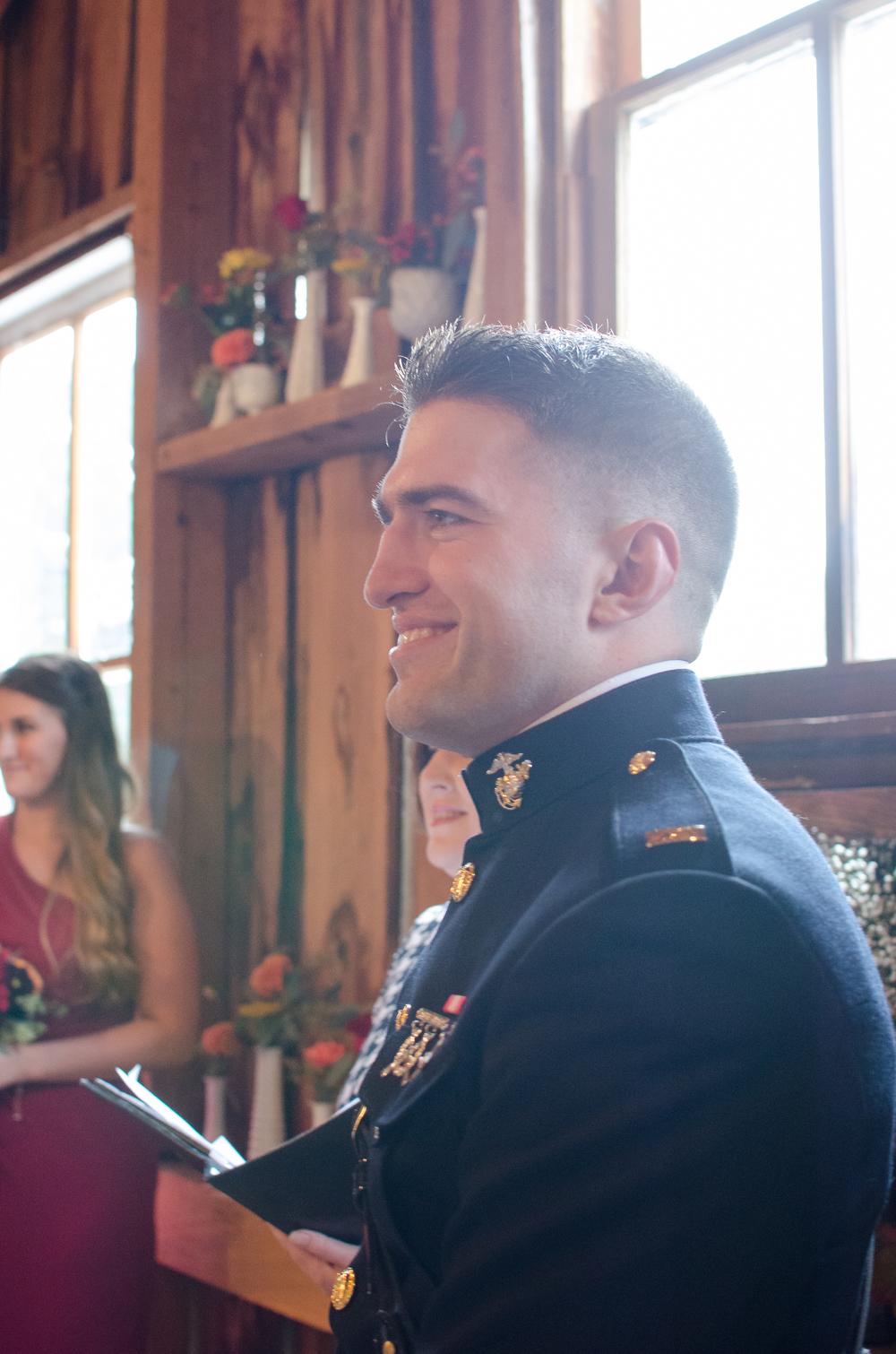 The Glasgow Farm Wedding groom ceremony Photo