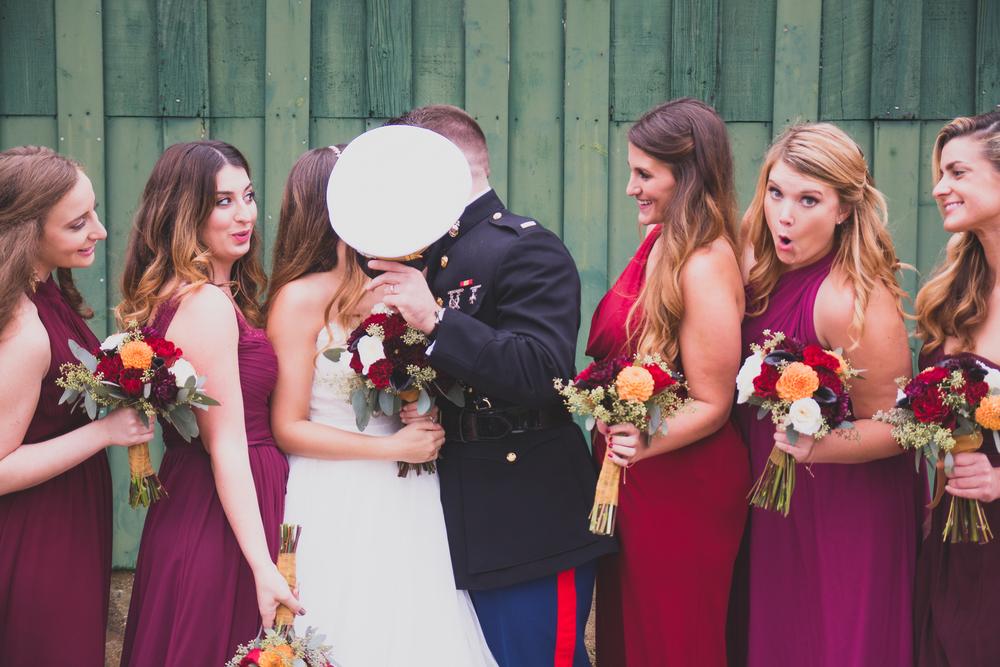 The Glasgow Farm Wedding military wedding party Photo