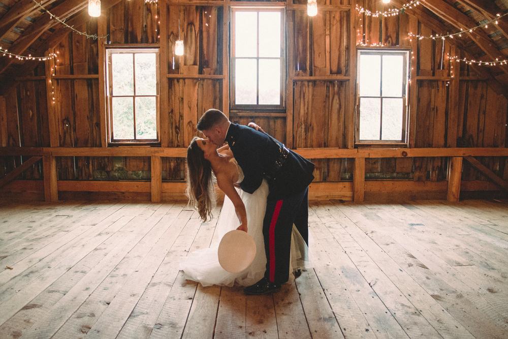 The Glasgow Farm Wedding bride and groom dip Photo