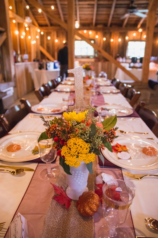 The Glasgow Farm Wedding rustic table setting Photo