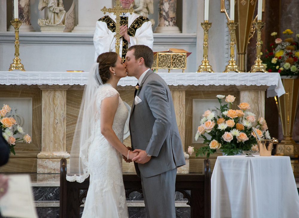Whitehall Estate and Winery Wedding bride and groom first kiss Photo
