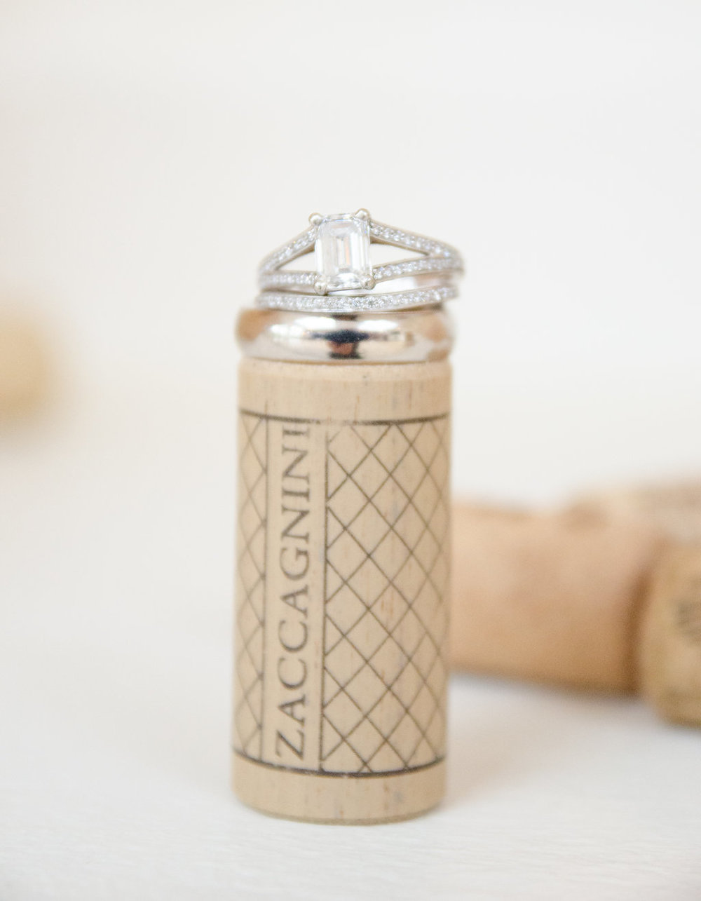 Whitehall Estate and Winery Wedding ring on wine cork Photo