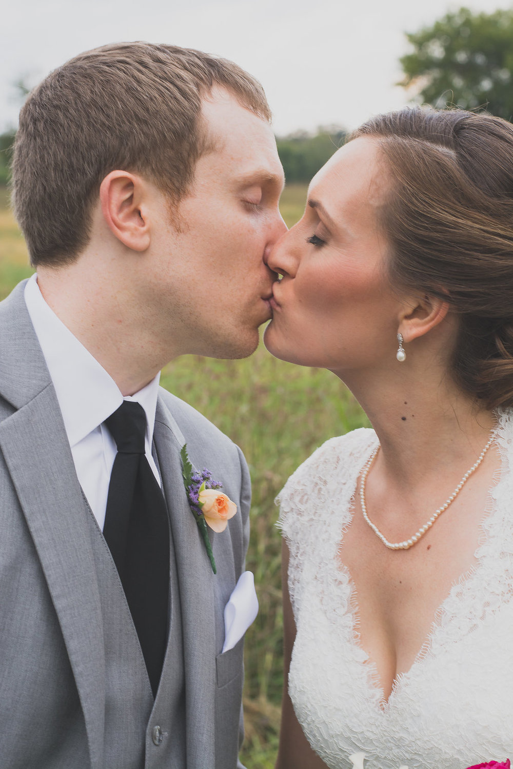Whitehall Estate and Winery Wedding bride and groom kissing Photo
