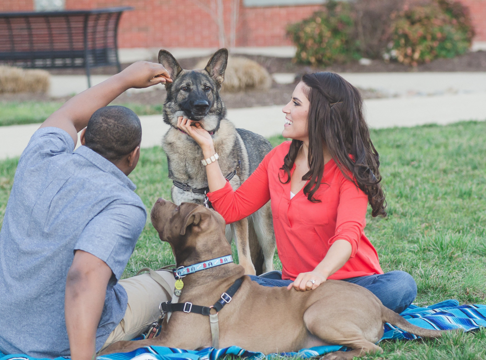 Howard University Dog Engagement Couple Photo