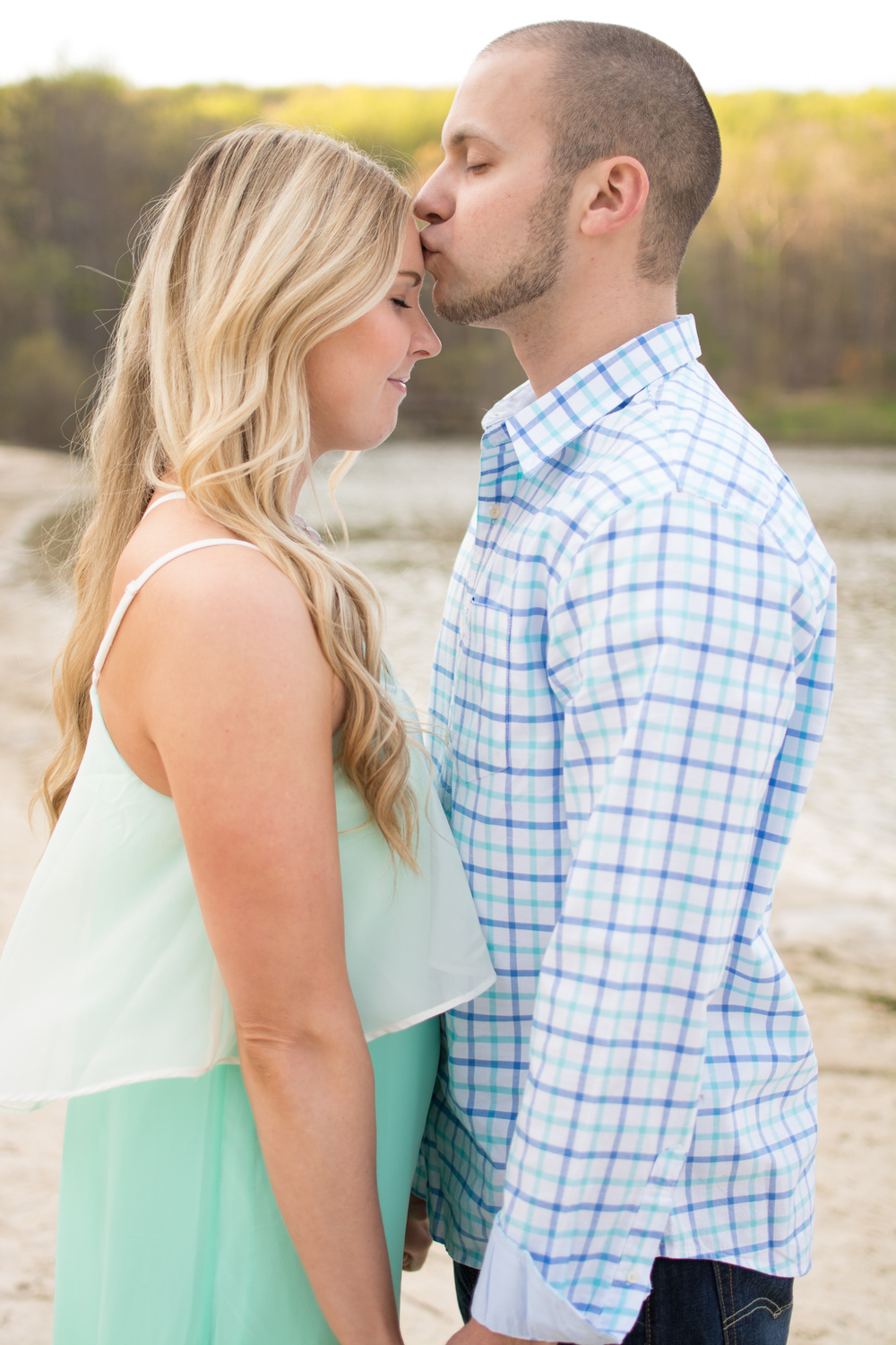 cunningham falls engagement session photo couple forehead kiss