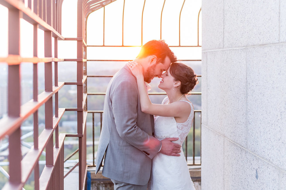 george washington masonic temple observatory wedding couple photo