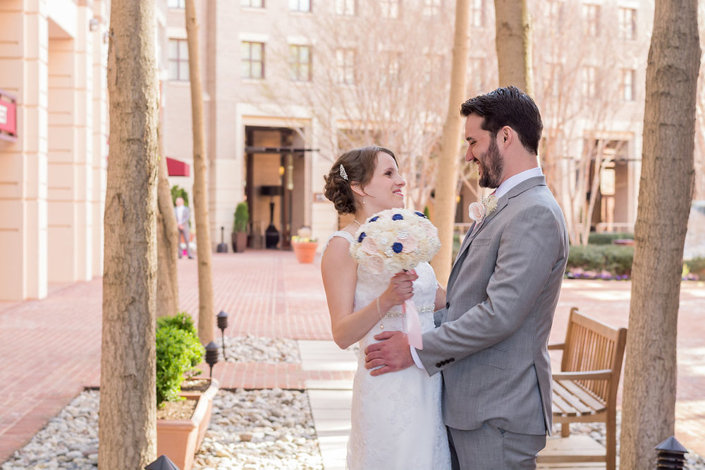 george washington masonic temple alexandria wedding first look photo