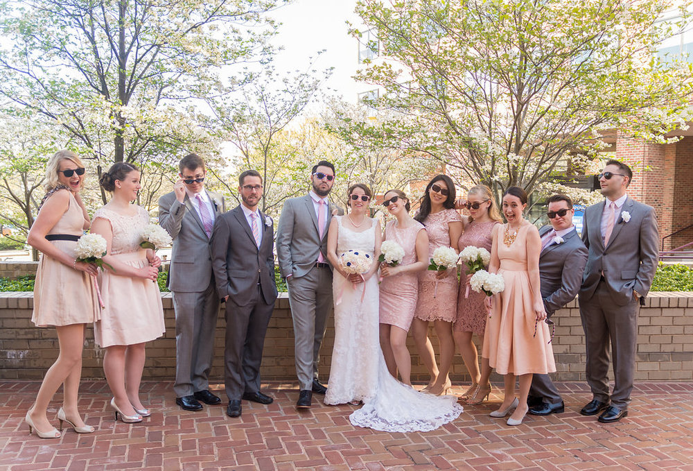 george washington masonic temple alexandria wedding party photo