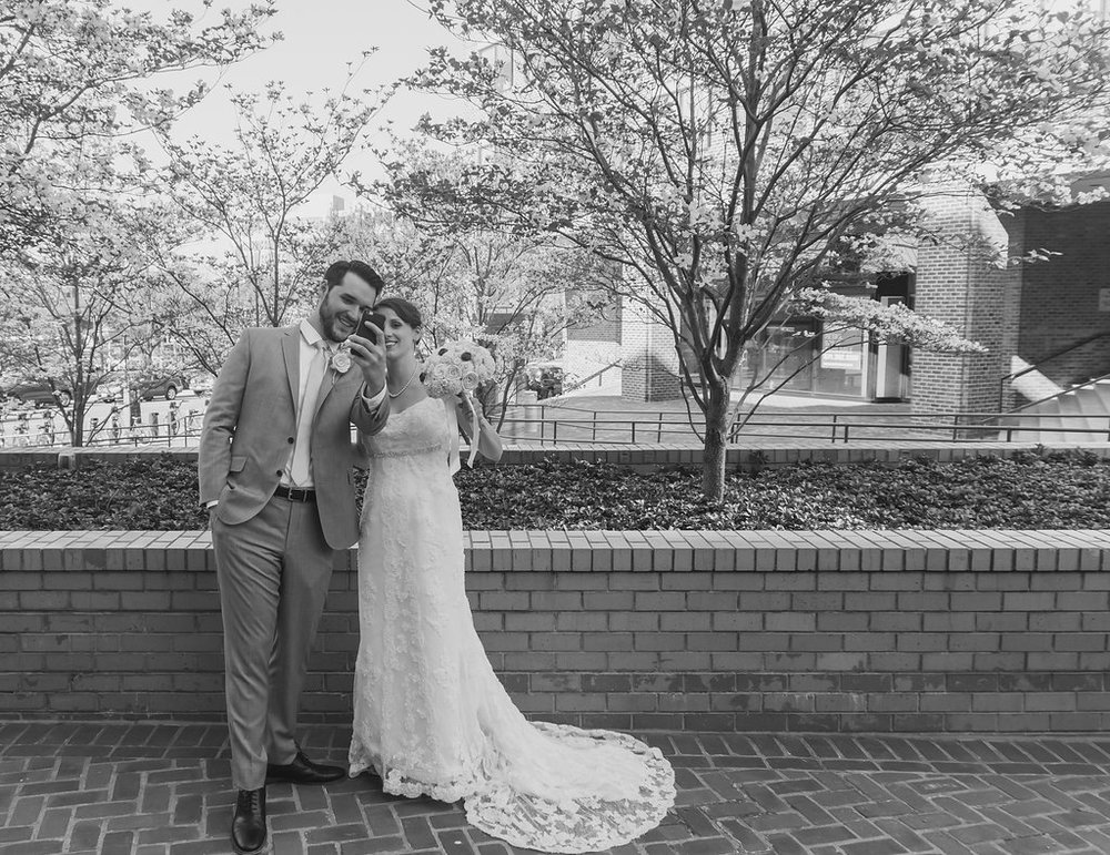 george washington masonic temple alexandria wedding couple selife photo