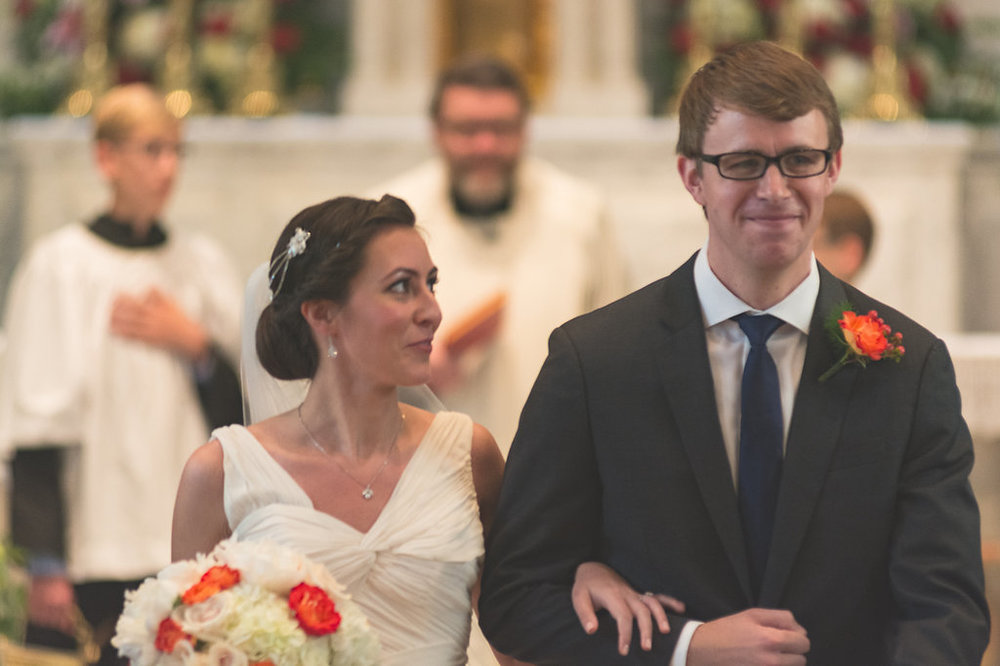 bride and groom happy st mary catholic church old town alexandria wedding