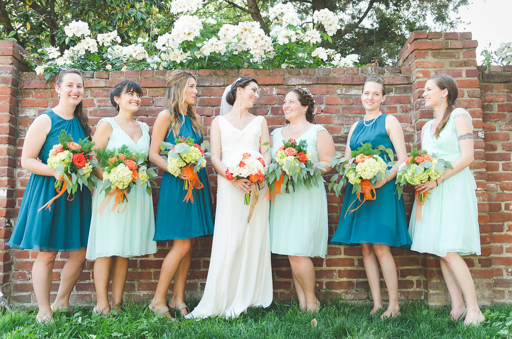 chic girl flowers bridesmaids bride happy flowers old town alexandria wedding
